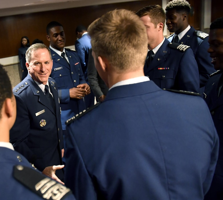 Air Force Chief of Staff Gen. David L. Goldfein talks with members of the U.S. Air Force Academy football team during the Commander in Chief's Trophy Congressional social at the Dirkson Senate Office Building in Washington, D.C., May 1, 2017. (U.S. Air Force photo/Wayne A. Clark)