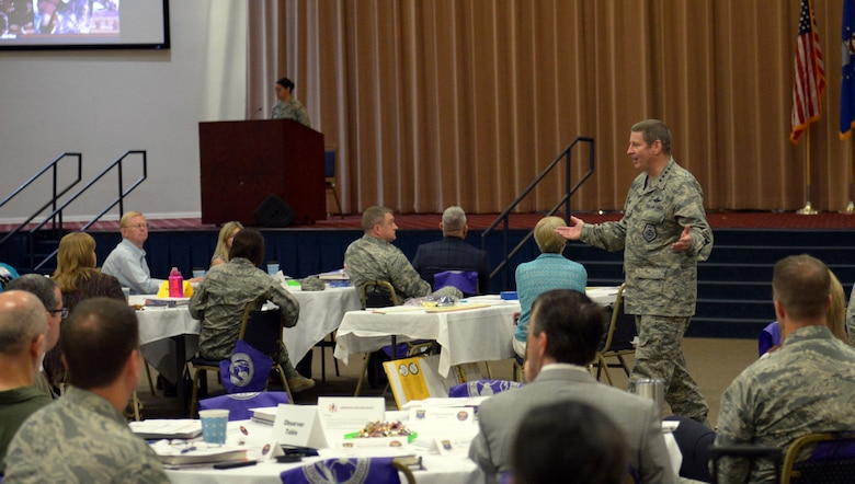Gen. Robin Rand, Air Force Global Strike Command commander, addresses participants of an AFGSC education convening at Barksdale Air Force Base, La., April 26, 2017. Participants hope to create an environment throughout the command that facilitates consistent, academic-driven schooling experiences. (U.S. Air Force photo/Senior Airman Curt Beach)