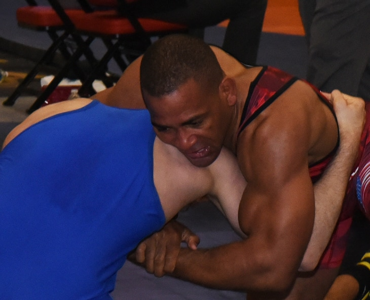 Sherwin Severin, Air Force Wrestling team member, maintains control over his opponent during the Senior Greco-Roman World team trials in Las Vegas, Nev., April 29, 2017. Severin qualified to represent the U.S. Air Force at the competition. He is stationed at F.E. Warren Air Force Base, Wyo. (U.S. Air Force photo by Airman 1st Class Breanna Carter)
