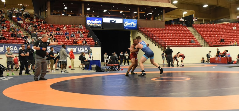 Sherwin Severin, Air Force Wrestling team member, fights for control over his opponent during the Senior Greco-Roman World team trials in Las Vegas, Nev., April 29, 2017. Severin has wrestled on the Air Force team for eight years. He is stationed at F.E. Warren Air Force Base, Wyo. (U.S. Air Force photo by Airman 1st Class Breanna Carter)