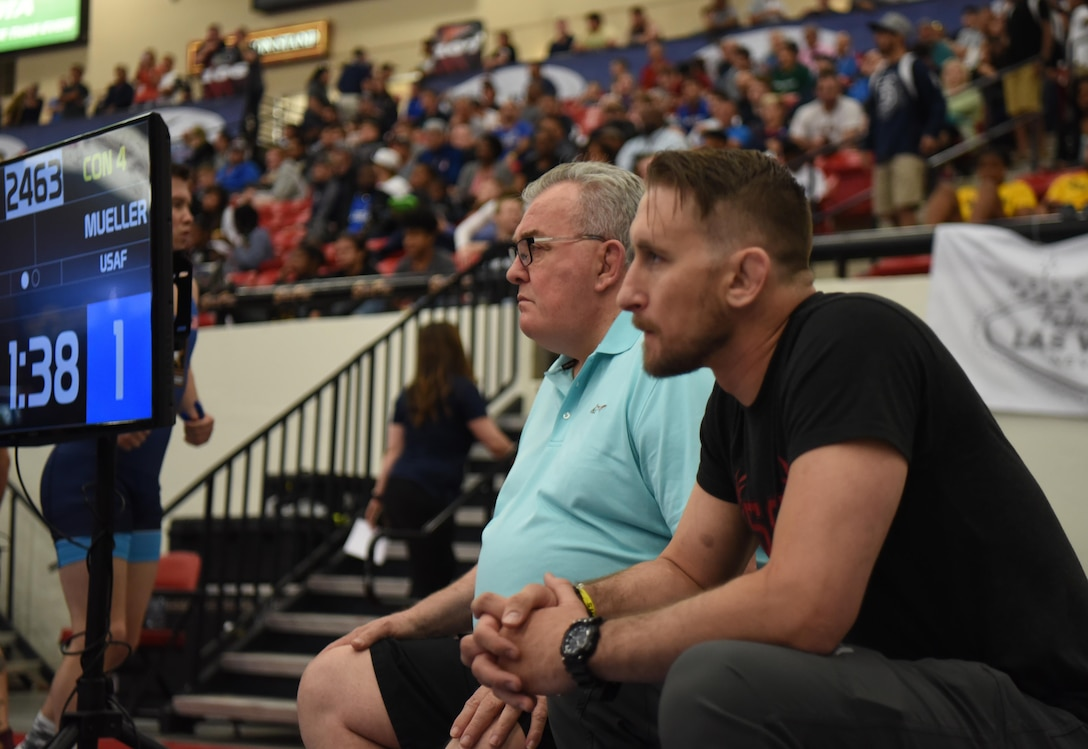 Floyd Winters, Air Force wrestling head coach, watches a wrestling match during the Senior Greco-Roman World team trials in Las Vegas, Nev., April 29, 2017. Winters has been a member of the USA National coaching staff for more than 25 years. (U.S. Air Force photo by Airman 1st Class Breanna Carter)