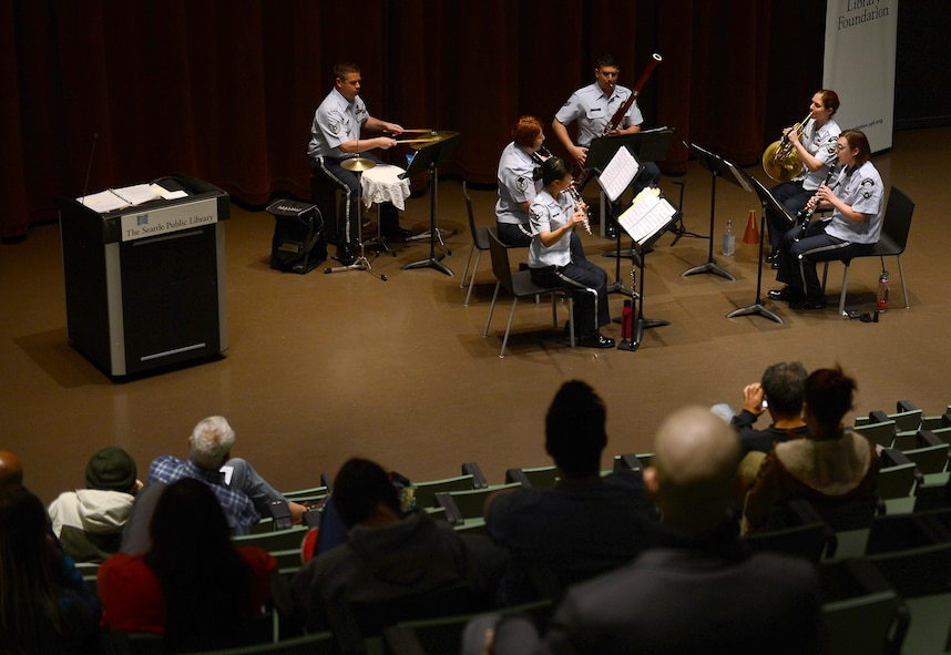 The U.S. Air Force Band of the Golden West, Golden West Wind Quintet, perform for members of the Seattle community while on tour May 1, 2017 in Seattle, Wash. The Band of the Golden West is dedicated to engaging communities and building partnerships, telling the Air Force story, honoring military heritage, enhancing morale for uniformed service members and recruiting the finest Americans to serve in the Air Force. (U.S. Air Force photo/Senior Airman Divine Cox)