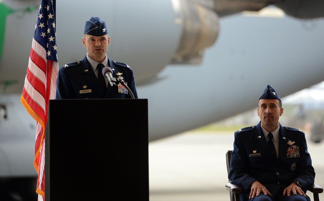 Col. Mark Fuhrmann (left), 62nd Operations Group commander, thanks attendees at the 62nd OG change of command ceremony after taking command May 1, 2017, at Joint Base Lewis-McChord, Wash. A rated command pilot, Fuhrmann holds more than 3,200 flight hours in the T-37, T1-A, C-141B Starlifter and C-17 Globemaster III aircraft. (U.S. Air Force photo/Senior Airman Jacob Jimenez)
