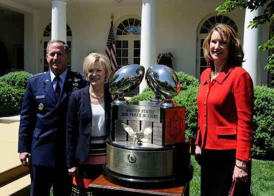 Air Force Chief of Staff Gen. David L. Goldfein, his wife, Dawn Goldfein and Acting Secretary of the Air Force Lisa S. Disbrow stand with the Commander -in -Chief's Trophy earned by the U.S. Air Force Academy at the White House, May 2, 2017. The Academy has earned the trophy 20 times. (U.S. Air Force photo/Staff Sgt. Jannelle McRae)