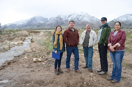 Interagency representatives tour Skull Valley Reservation floodplains during an outreach event held on the reservation in Tooele County, Utah by the U.S. Army Corps of Engineers Sacramento District in April. From left: Sacramento District's Patricia Fontanet and Hunter Merritt; Scott Roscoe, FEMA; Alisa Meyer, Shambip Conservation District; and Skull Valley Band of Goshute Tribe Chairwoman Candace Bear.