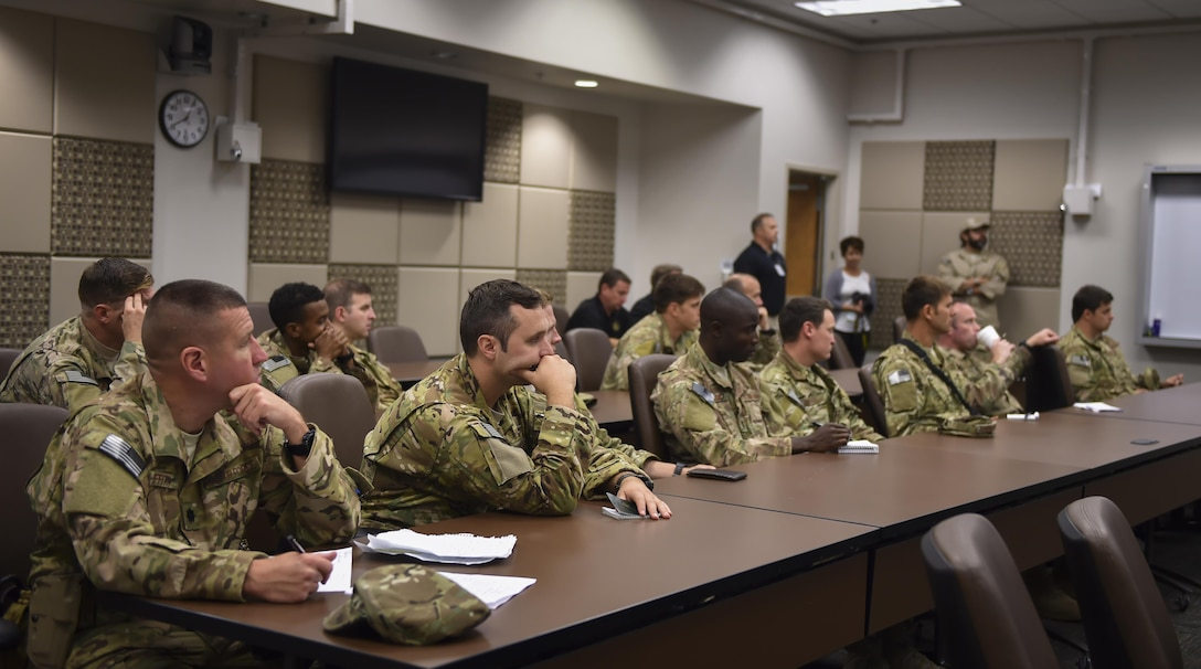 Combat aviation advisor students with the 6th Special Operations Squadron are briefed by instructors during Operation Raven Claw at Hurlburt Field, Fla., April 24, 2017. Air Force Special Operations Command's 6th SOS is the only unit in AFSOC whose primary mission is to execute combat aviation advisory operations worldwide in support of U.S. Special Operations Command's tailor-made theater security cooperation plans. (U.S. Air Force photo by Airman 1st Class Joseph Pick)