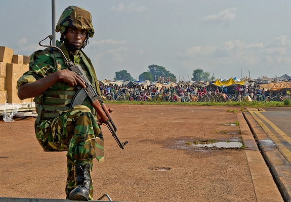 A Burundi soldier posts security at the Bangui Airport, Central African Republic (CAR) in late 2013. In coordination with the French military and African Union, the U.S. military provided airlift support to help enable African forces to deploy promptly to prevent further spread of sectarian violence and restore security in CAR.