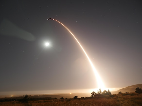 An unarmed Minuteman III intercontinental ballistic missile launches during an operational test at 12:02 a.m. Pacific Daylight Time Wednesday, May 3, 2017, at Vandenberg Air Force Base, Calif. (U.S. Air Force photo by 2nd Lt. William Collette)