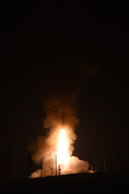 An unarmed Minuteman III intercontinental ballistic missile launches during an operational test at 12:02 a.m. Pacific Daylight Time Wednesday, May 3, 2017, at Vandenberg Air Force Base, Calif. (U.S. Air Force photo by Michael Peterson)