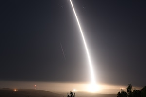 An unarmed Minuteman III intercontinental ballistic missile launches during an operational test at 12:02 a.m. Pacific Daylight Time Wednesday, May 3, 2017, at Vandenberg Air Force Base, Calif. (U.S. Air Force photo by Staff Sgt. Shane Phipps)