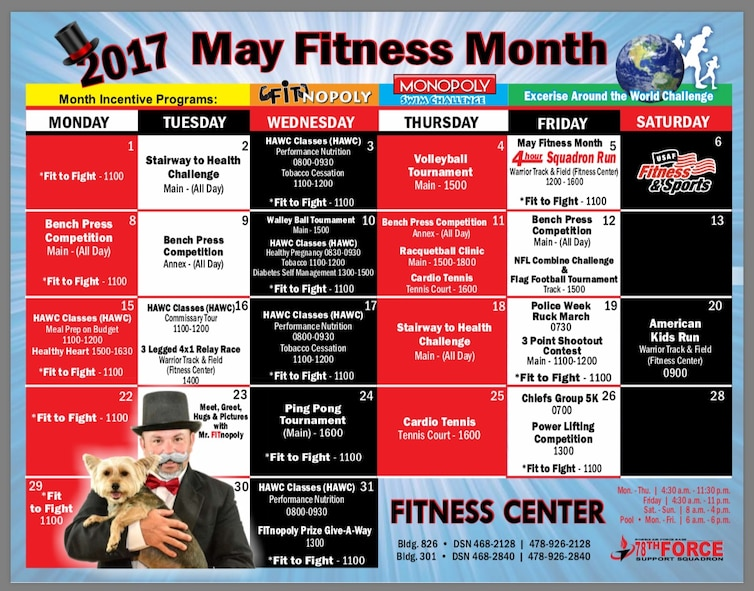 "May is fitness month, and Team Robins has an opportunity to participate by playing ""FITnopoly,"" a game similar to the classic Monopoly, where patrons earn tickets for completing certain fitness challenges in hopes of earning big and small prizes. (U.S. Air Force graphic by Kenya James)"