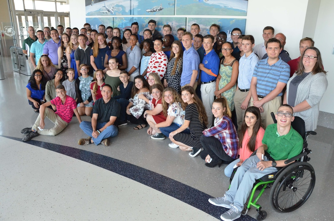 Air Force Junior Reserve Officer Training Corps Detachment FL-011 members pose for a group photo in the lobby of the Air Force Technical Applications Center, Patrick AFB, Fla., during a tour of the nuclear treaty monitoring center April 28, 2017.   (U.S. Air Force Photo by Susan A. Romano)