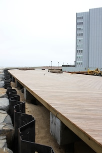 The U.S. Army Corps of Engineers' Philadelphia District and its contractor are building two sections of a seawall and rebuilding portions of the Atlantic City boardwalk along the Absecon Inlet. Work is designed to reduce damages from coastal storms.