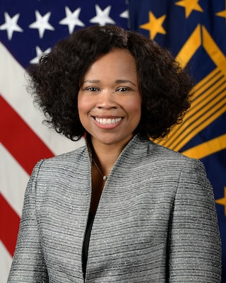 Dana White, Assistant to the Secretary of Defense for Public Affairs, poses for her official portrait in the Army portrait studio at the Pentagon in Arlington, Virginia, Apr 10, 2017.  (U.S. Army photo by Monica King/Released)