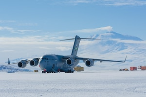 An Air Force C-17 Globemaster III assigned to the 62nd Airlift Wing at Joint Base Lewis-McChord, Wash., lands at McMurdo Station in Antarctica for a resupply mission, Feb. 5, 2017. The wing, part of the Air Mobility Command, is tasked with supporting worldwide combat and humanitarian airlift contingencies. North Carolina Air National Guard photo by Tech. Sgt. Jesse Huneycutt
