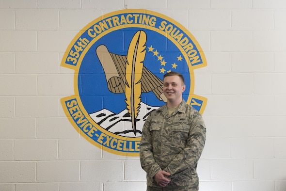 U.S Air Force Senior Airman Michael Drinkwater, a 354th Contracting Squadron contract specialist, poses for a photo April 17, 2017, at Eielson Air Force Base, Alaska. Drinkwater was originally born in England but his family later moved to the United States where he joined the Air Force. (U.S. Air Force photo by Airman Eric M. Fisher)