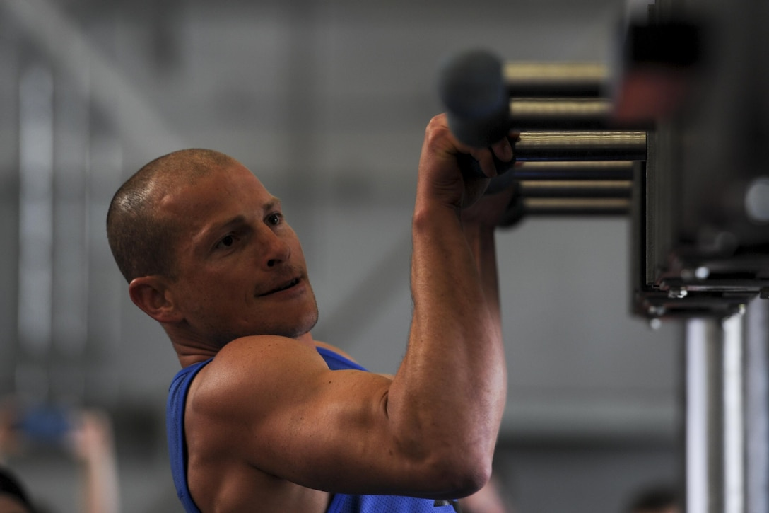 Brent Steffensen, the managing partner of Alpha Warrior, moves through an obstacle at the Alpha Warrior Battle Rig competition at Hurlburt Field, Fla., April 29, 2017. Steffensen is a veteran of the television competition show American Ninja Warrior. Steffensen is most known for becoming the first American to finish the Ultimate Cliffhanger in the third stage of the Las Vegas finals. (U.S. Air Force photo by Airman 1st Class Dennis Spain)
