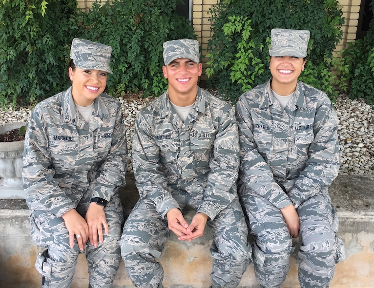 Pictured are the Harchaoui triplets (from left): Myriam, 436th Supply Chain Operations Squadron at Scott AFB; Rabah, 56th Security Forces Squadron at Luke AFB, Ariz.; and Warda, 60th Medical Operations Squadron at Travis AFB, Calif. All three were born in Algeria before immigrating to the United States, and are Airmen serving in today's Air Force.