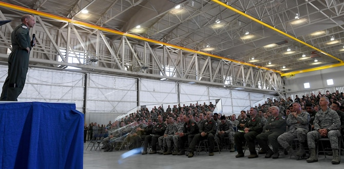 Gen. Mike Holmes, commander of Air Combat Command, speaks to the Airmen of the 432nd Wing/432nd Air Expeditionary Wing on his first visit to Creech Air Force Base, Nev., May 1, 2017. Holmes reiterated the impact of the remotely piloted aircraft enterprise in the Air Force and encouraged Airmen to continue to serve. (U.S. Air Force photo by Airman 1st Class James Thompson)