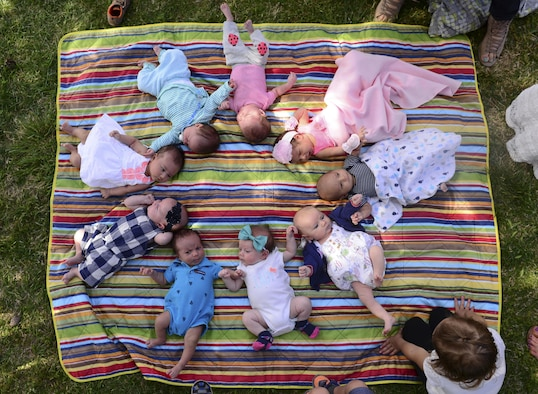 Babies lay in a circle during a group prenatal class at Freedom Park on Nellis Air Force Base, Nev., April 22,2107.