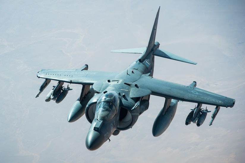 A U.S. Marine Corps AV-8B Harrier separates from a KC-10 Extender after receiving fuel during a mission in support of Combined Joint Task Force Operation Inherent Resolve over Iraq, Feb. 22, 2017.The KC-10 Extender offloaded 126,000 pounds of fuel to multinational coalition aircraft working to weaken and destroy Islamic State in Iraq and Syria operations. Air Force photo by Senior Airman Tyler Woodward