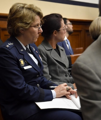 "Lt. Gen. Michelle Johnson, the U.S. Air Force Academy superintendent, listens to the testimony of four service members who have been sexually assaulted before testifying before the House Armed Services Committee on sexual assault within America's service academies May 2, 2017, in Washington, D.C.  Johnson was joined by Vice Adm. Walter E. ""Ted"" Carter, Jr., the U.S. Naval Academy superintendent, Lt. Gen. Robert L. Caslen, Jr., the U.S. Military Academy superintendent and Dr. Elizabeth Van Winkle, the assistant secretary of defense for readiness. (U.S. Air Force photo/Wayne A. Clark)"