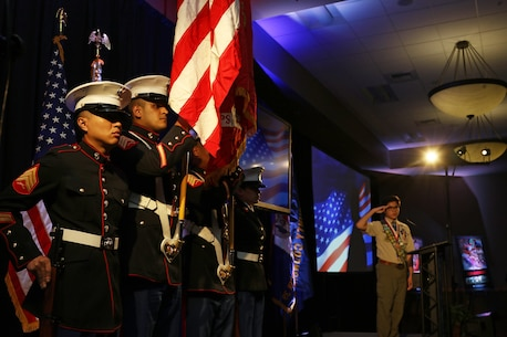 The U.S. Marine Corps Color Guard of Recruiting Station Orange County presents colors during the Eagle Scout Recognition Dinner in Garden Grove, Calif., April 26, 2017. (U.S. Marine Corps photo by Sgt. Jessica Quezada)