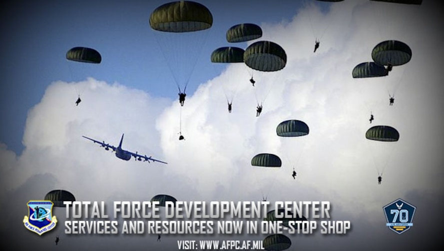 The Air Force has consolidated all total force development services and resources to a single-point center. All Airmen (active duty, Reserve, Guard and civilian) will now be able to fully utilize all force development resources through the virtual force development center. (U.S. Air Force graphic by Kat Bailey
