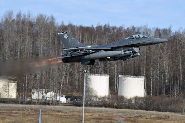 An F-16 Fighting Falcon with the 53rd Wing at Nellis Air Force Base, Nev., departs the runway at Joint Base Elmendorf-Richardson, Alaska, May 2 during Exercise Northern Edge 2017. Northern Edge is Alaska's largest and premier joint training exercise designed to practice operations, techniques and procedures as well as enhance interoperability among the services. Thousands of participants from all the services Airmen, Soldiers, Sailors, Marines and Coast Guard personnel from active duty, Reserve and National Guard units are involved.