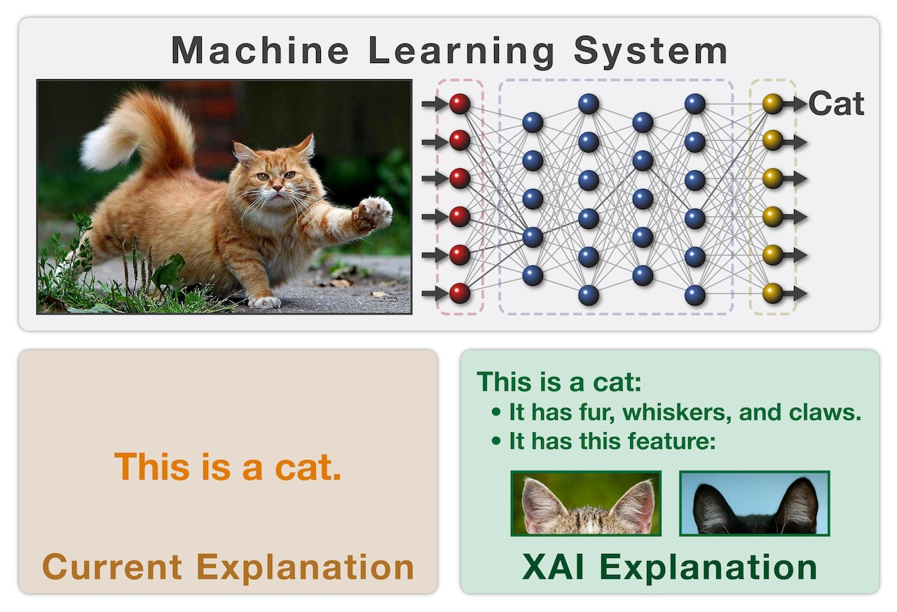 This is an illustration of the concept behind DARPA's Explainable Artificial Intelligence program, which aims to create a suite of machine-learning techniques that produce more explainable models while maintaining a high level of learning performance (prediction accuracy); and enable human users to understand, appropriately trust and effectively manage the emerging generation of artificially intelligent partners. DARPA graphic