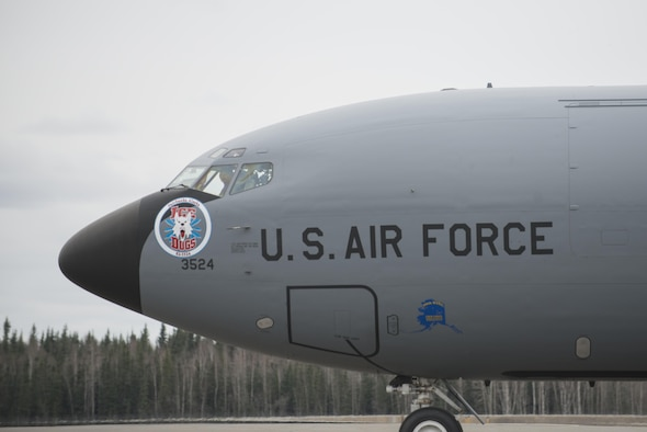 EIELSON AIR FORCE BASE, Alaska – A U.S. Air Force KC-135R Stratotanker assigned to the 168th Wing, Alaska Air National Guard, taxis on the Eielson Air Force Base, Alaska flight line during NORTHERN EDGE 2017 (NE17), May 3, 2017, at Eielson Air Force Base, Alaska. NE17 is Alaska's premier joint training exercise designed to practice operations, techniques and procedures as well as enhance interoperability among the services. Thousands of participants from all the services, Airmen, Soldiers, Sailors, Marines and Coast Guardsmen from active duty, Reserve and National Guard units are involved. (U.S. Air Force photo/Staff Sgt. Ashley Nicole Taylor)
