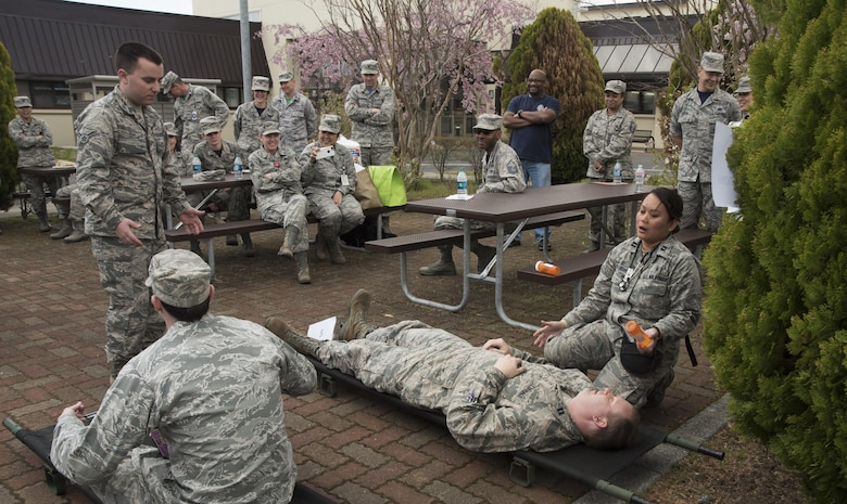Members of the 35th Medical Group perform a comical skit about the importance of patient safety at Misawa Air Base, Japan, April 28, 2017. The skit was one event that took place in light of Patient Safety Awareness Week. (U.S. Air Force photo by Staff Sgt. Melanie A. Hutto)