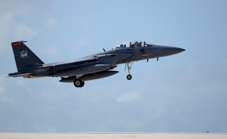 A Republic of Singapore Air Force F-15SG prepares to land April 10, 2017, at Andersen Air Force Base, Guam. The RSAF deployed to Andersen AFB to conduct bilateral training for aircrew and maintenance personnel to sharpen their skills and strengthen ties with partners in the Pacific. (U.S. Air Force Airman/1st Class Gerald R. Willis)