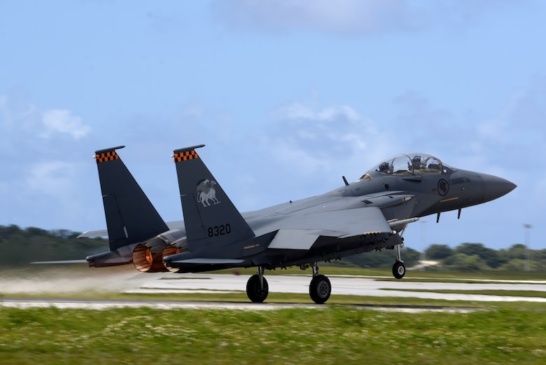 A Republic of Singapore Air Force F-15SG takes-off April 20, 2017, at Andersen Air Force Base, Guam. The RSAF deployed to Andersen AFB in support of Exercise Vigilant Ace to conduct bilateral training for aircrew and maintenance personnel to sharpen their skills and strengthen ties with partners in the Pacific. (U.S. Air Force/Airman 1st Class Gerald R. Willis)