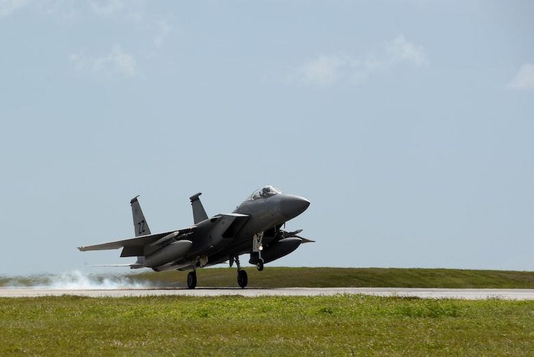 A U.S. Air Force F-15 Eagle, assigned to Kadena Air Base, Japan, lands at Andersen Air Force Base, Guam on April 20, 2017. Fighters from Kadena AB deployed alongside Republic of Singapore Air Force fighters to conduct bilateral training in the Pacific during Exercise Vigilant Ace. (U.S. Air Force/Airman 1st Class Gerald R. Willis)