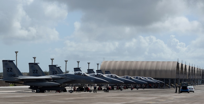 U.S. Air Force F-15 Eagles, assigned to Kadena Air Base, Japan, sit on the flightline, April 20, 2017, at Andersen Air Force Base, Guam. Fighters from Kadena AB deployed alongside Republic of Singapore Air Force fighters to conduct bilateral training in the Pacific during Exercise Vigilant Ace. (U.S. Air Force/Airman 1st Class Gerald R. Willis)