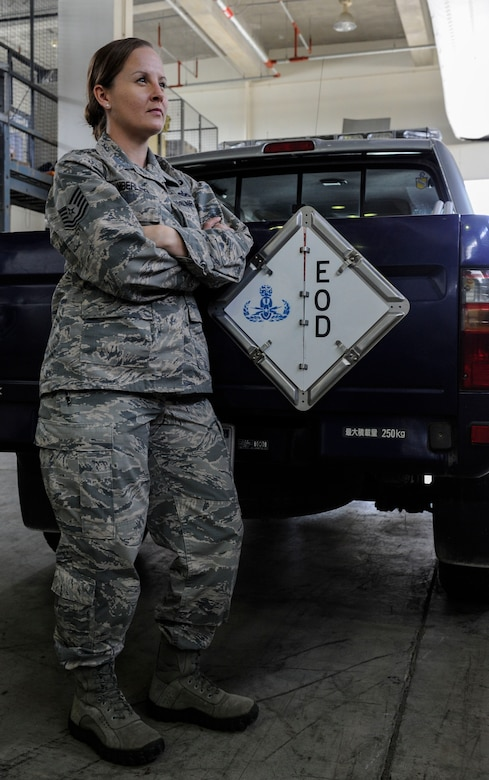 U.S. Air Force Tech. Sgt. Rebecca Kimberling, 18th Civil Engineer Squadron Explosive Ordnance Disposal supply NCO in charge, was one of three NCOs within the Fifth Air Force to receive a Stripes for Exceptional Performers promotion April 26, 2017, at Kadena Air Base, Japan. Stripes for Exceptional Performers promotions are awarded to Airmen who exhibit outstanding performance in their careers, encompassing the whole-Airman concept. (U.S. Air Force photo by Senior Airman Lynette M. Rolen)