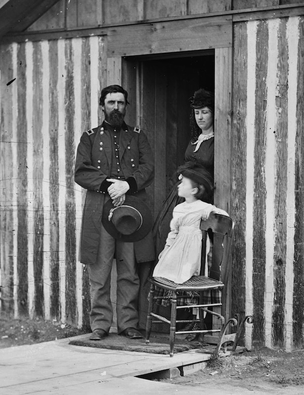 Brig. Gen. John A. Rawlins, pictured at his quarters during the later siege of Petersburg, served as Grant's adjutant throughout the Vicksburg campaign and was one of his most trusted and valued officers.