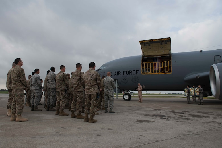 U.S. Airmen assigned to the 22 Expeditionary Air Refueling Squadron hold a memorial service honoring the crew of Shell 77 May 3, 2017 at Incirlik Air Base, Turkey. U.S. Air Force Capt. Mark Voss, Capt. Victoria Pinckney and Technical Sgt. Herman Mackey III were deployed to the 376th Air Expeditionary Wing's 22nd Expeditionary Air Refueling Squadron in support of Operation Enduring Freedom when their KC-135 Stratotanker crashed in Northern Kyrgyzstan. (U.S. Air Force photo by Airman 1st Class Devin M. Rumbaugh)