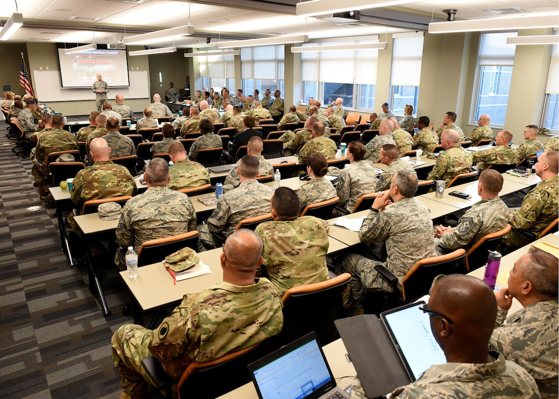 Chief Master Sgt. Edward Walden Sr., the commandant of the Chief Master Sergeant Paul H. Lankford Enlisted Professional Military Education Center, speaks with the Army and Air National Guard's top enlisted leaders at the I.G. Brown Training and Education Center campus, May 2, 2017, in east Tennessee. The National Guard Joint Enlisted Advisory Council (JEAC) met at TEC this week to work together, as well as within their component groups, and coordinate efforts addressing enlisted Guard members. (U.S. Air National Guard photo by Master Sgt. Mike R. Smith)