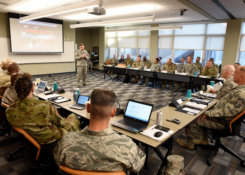 Col. Kevin Donovan, the commander of the I.G. Brown Training and Education Center, welcomes the Army and Air National Guard's top enlisted leaders to the campus, May 2, 2017, in east Tennessee. The National Guard Joint Enlisted Advisory Council (JEAC) met at TEC this week to work together, as well as within their component groups, and coordinate efforts addressing enlisted Guard members. (U.S. Air National Guard photo by Master Sgt. Mike R. Smith)