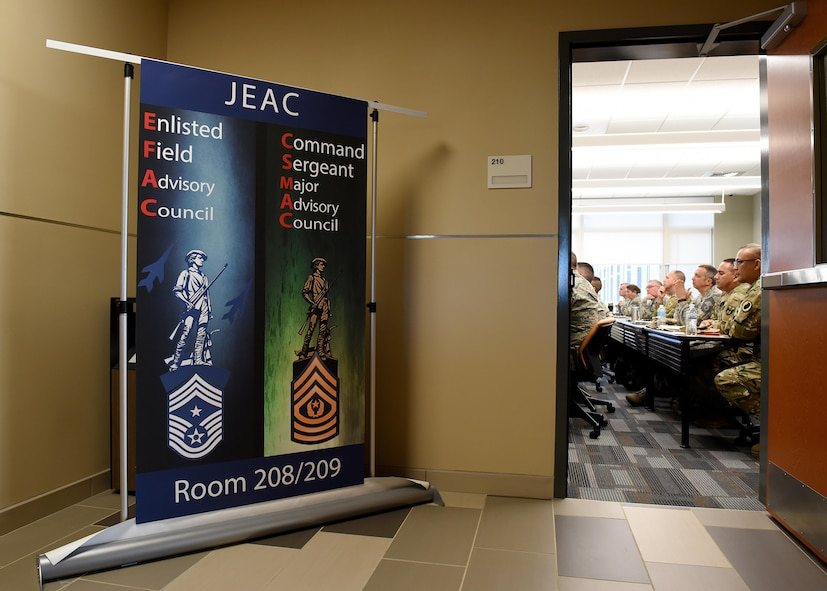 The Army and Air National Guard's top enlisted leaders meet inside the new classroom building at the I.G. Brown Training and Education Center, May 2, 2017, in east Tennessee, for the Joint Enlisted Advisory Council. (U.S. Air National Guard photo by Master Sgt. Mike R. Smith)