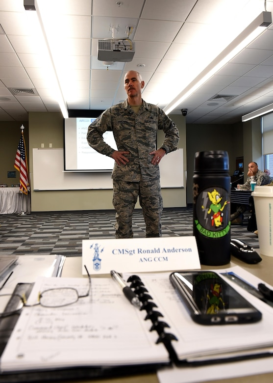 The Command Chief Master Sergeant of the Air National Guard, Chief Master Sgt. Ron Anderson speaks with the Army and Air National Guard's top enlisted leaders at the I.G. Brown Training and Education Center, May 2, 2017, in east Tennessee. The National Guard Joint Enlisted Advisory Council (JEAC) met this week to coordinate efforts on issues affecting enlisted Guard members. (U.S. Air National Guard photo by Master Sgt. Mike R. Smith)