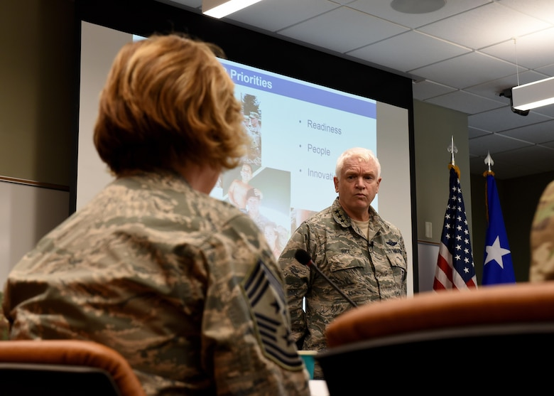 The Director of the Air National Guard, Lt. Gen. L. Scott Rice, visits the I.G. Brown Training and Education Center, May 2, 2017, in east Tennessee. General Rice spoke with the National Guard's Joint Enlisted Advisory Council (JEAC), or about 90 senior enlisted National Guard Soldiers and Airmen from the states and territories here this week. He also toured TEC's campus, meet professional military education students and attended the afternoon retreat ceremony with students and staff. (U.S. Air National Guard photo by Master Sgt. Mike R. Smith)