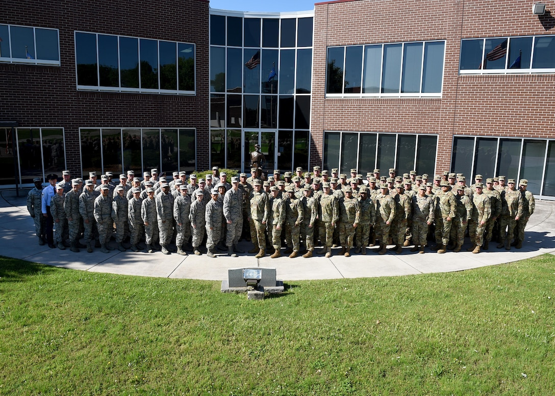 The Army and Air National Guard's senior enlisted leaders gather outside Patriot Hall at the I.G. Brown Training and Education Center, May 3, 2017, in east Tennessee, for a photograph as a Joint Enlisted Advisory Council. The JEAC met at TEC this week to work together, as well as within their component groups, and coordinate efforts for enlisted Guard members. (U.S. Air National Guard photo by Master Sgt. Mike R. Smith)