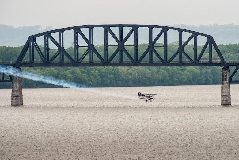 Pilot Billy Werth flies his Pitts S-2C aircraft low over the Ohio River during the Thunder Over Louisville air show in Louisville, Ky., April 22, 2017. The event, which features more than a dozen aircraft, has grown to become the largest annual single-day air show in America. (U.S. Air National Guard photo by Lt. Col. Dale Greer)