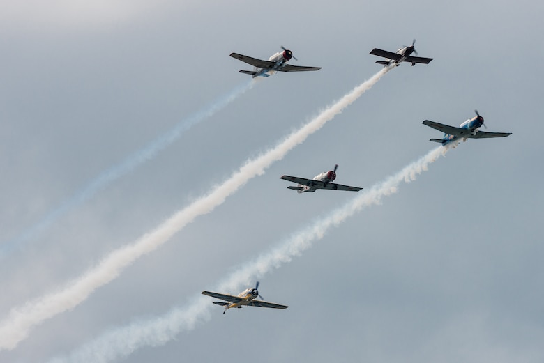 A group of World War II-era warbirds flies an aerial demonstration over the Ohio River April 22, 2017, during the Thunder Over Louisville air show in Louisville, Ky. The annual event has grown to become the largest single-day air show in the nation. (U.S. Air National Guard photo by Lt. Col. Dale Greer)