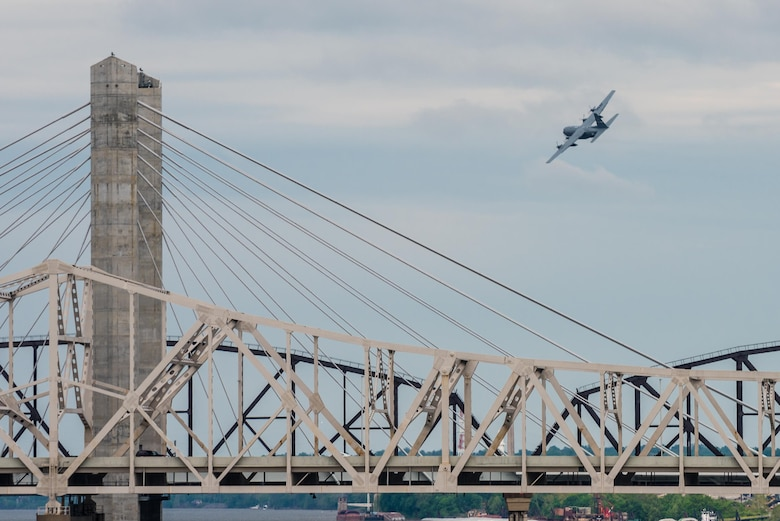 A C-130 Hercules aircraft from the Kentucky Air National Guard's 123rd Airlift Wing performs an aerial demonstration above the Ohio River during the Thunder Over Louisville air show in Louisville, Ky., April 22, 2017. The annual event has grown to become the largest single-day air show in the nation. (U.S. Air National Guard photo by Lt. Col. Dale Greer)
