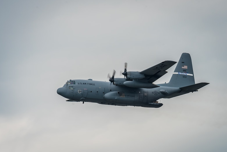 A C-130 Hercules aircraft from the Kentucky Air National Guard's 123rd Airlift Wing prepares to air-drop two bundles of cargo in the Ohio River during the Thunder Over Louisville air show in Louisville, Ky., April 22, 2017. The annual event has grown to become the largest single-day air show in the nation. (U.S. Air National Guard photo by Lt. Col. Dale Greer)