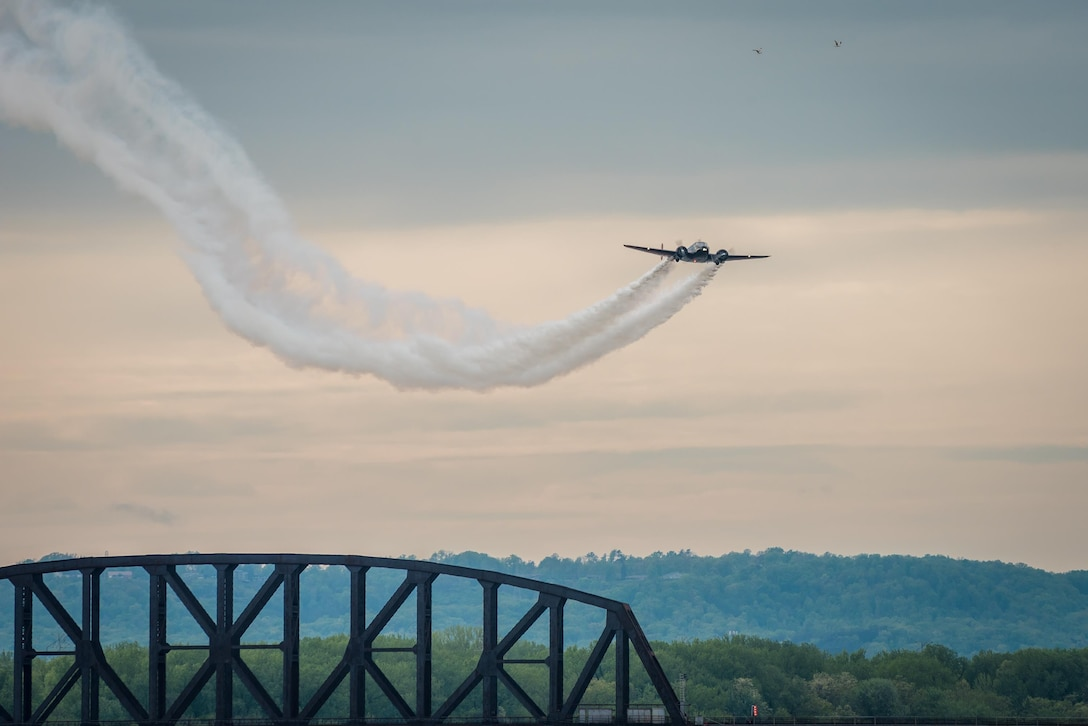 Matt Younkin flies an aerial demonstration in his Twin Beech aircraft April 22, 2017, during the Thunder Over Louisville air show in Louisville, Ky. The annual event has grown to become the largest single-day air show in the nation. (U.S. Air National Guard photo by Lt. Col. Dale Greer)
